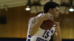 Ishmael Hollis secures in rebound in Thursday's loss to Georgia Southwestern State.