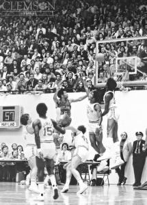 Clemson defenders bat down a Maryland ball. Photo Creds: Clemson University Library