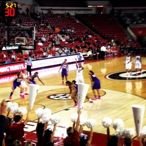 Erika Ford at the free throw line. Ford scored 20 points for the Lady Dogs against LSU on Feb. 20.