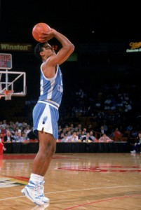 #44 Rick Fox takes a jumps shot in 1989. Photo creds: Tim DeFrisco/Getty Images