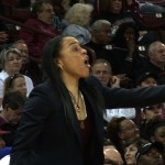 Head Coach Dawn Staley barks out instructions to her team.