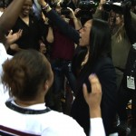 Head Coach Dawn Staley celebrates winning the SEC Championship with her team.