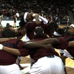Sophomore Khadijah Sessions gets the Gamecocks hyped before the game.