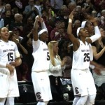 Gamecocks bench jumps up and down as they start to celebrate being SEC Champs.