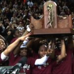 The Gamecocks hoist the SEC Championship for the first time in school history.