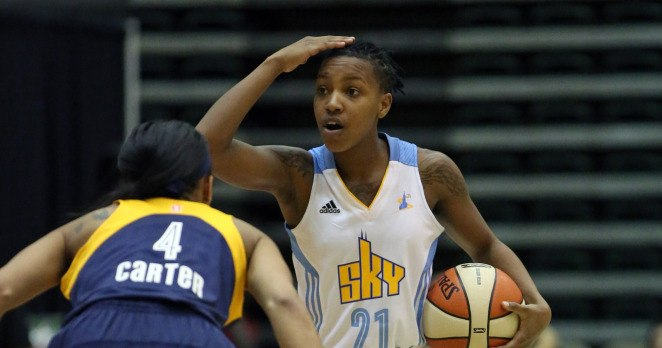 Jamierra Faulkner #21 of the Chicago Sky handles the ball against the Indiana Fever as part of the WNBA Preseason Tournament 2014 on May 9, 2014. Copyright 2014 NBAE (Photo by Gary Dineen/NBAE via Getty Images)
