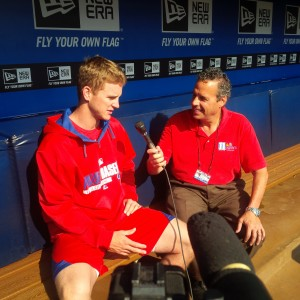 Georgia State Alum David Buchanan talks with 11Alive's Fred Kalil before the Phillies play the Braves