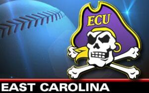 East Carolina logo and softball.