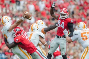 Leonard Floyd and Lorenzo Carter are two of the main reasons as to why Georgia's linebacking corps might be the best in the entire country. Image via onlineathens.com.