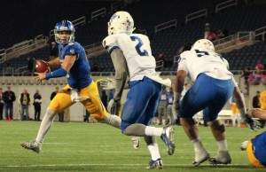 Panther Safety Bobby Baker chases down the San Jose State QB Kenny Potter at the Cure Bowl in Orlando, Fl.
