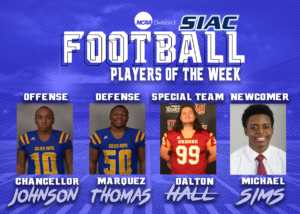 Week 2: SIAC Announces Football Players of the Week