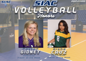 SIAC Announces Weekly Volleyball Honors